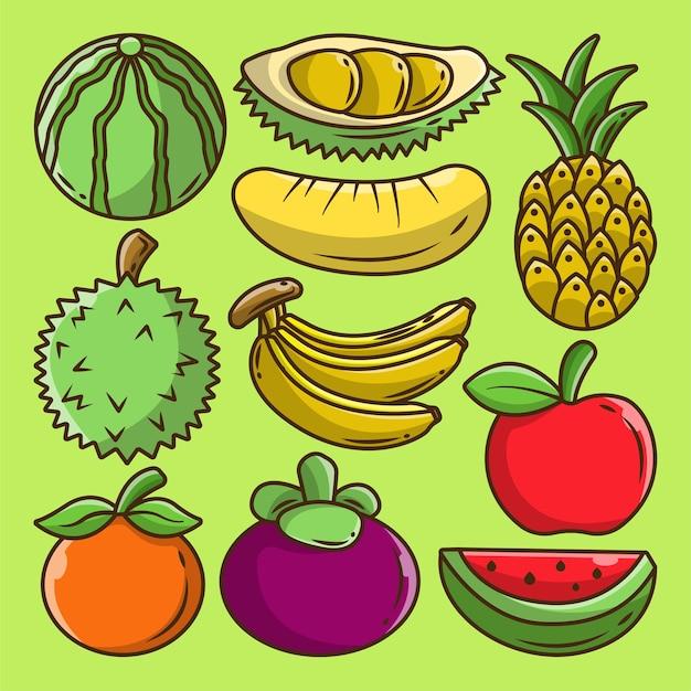 Collezione di scarabocchi di cartoni animati di elementi di frutta disegnati a mano