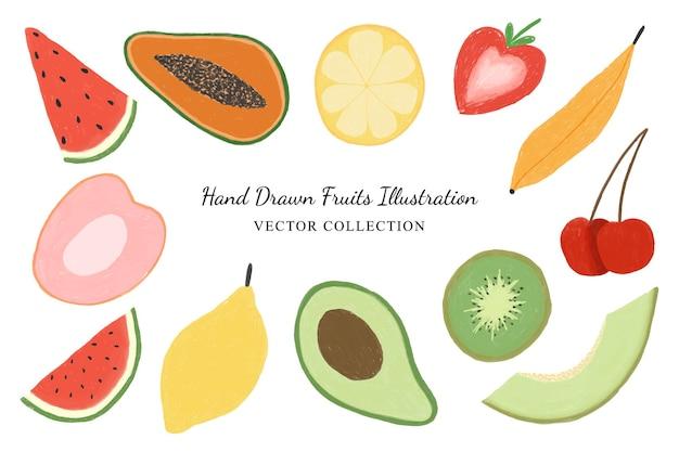 Raccolta disegnata a mano di vettore di clipart dell'illustrazione della frutta