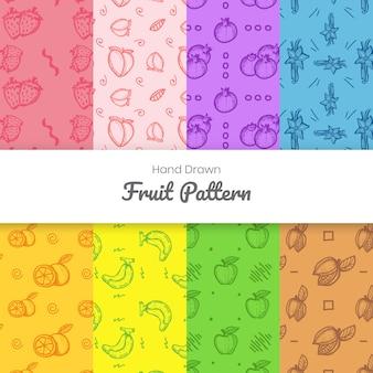 Modello di frutti disegnati a mano Vettore Premium