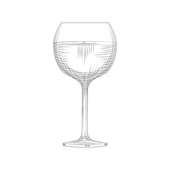 Schizzo di bicchiere di vino pieno disegnato a mano. stile di incisione. illustrazione vettoriale isolato su sfondo bianco.