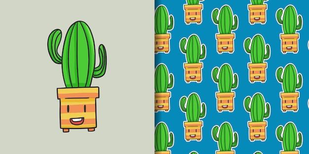Divertimento disegnato a mano cactus con motivo
