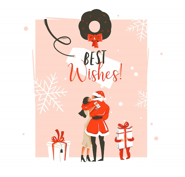 Divertimento disegnato a mano felice anno nuovo tempo coon illustrazione con coppia romantica che baci e abbracci, ghirlanda di natale, piccolo bambino con regalo e tipografia su sfondo pastello