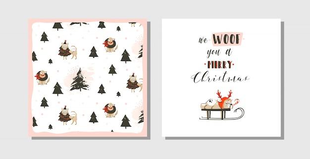 Divertenti cartoline di coon di buon natale disegnate a mano con illustrazioni carine, cane carlino su slitta e testo di tipografia moderna su sfondo bianco