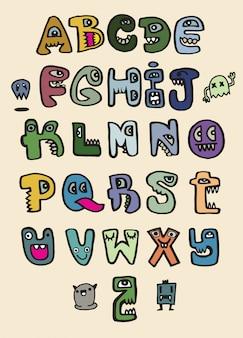 Alfabeto divertente mostro disegnato a mano