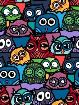 Gufo divertente disegnato a mano in tazza. modello senza cuciture di gufi per stampa, tessuto, involucro e illustrazione, gioco, web e articoli per bambini. buongiorno o buona notte. vettore