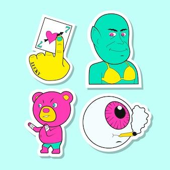 Collezione di adesivi divertenti disegnati a mano