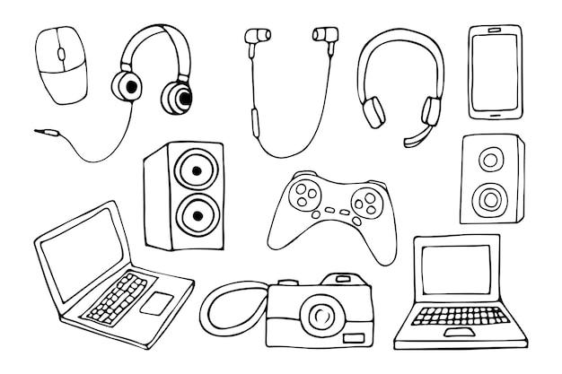 Set di illustrazioni di gadget disegnati a mano. collezione di icone di gadget di doodle.