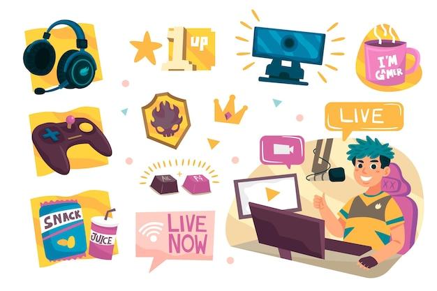 Raccolta di elementi di concetto di streamer di gioco disegnato a mano
