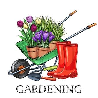 Banner di giardinaggio disegnato a mano. carriola, fiori, stivali di gomma e attrezzi da giardino in stile schizzo. illustrazione.