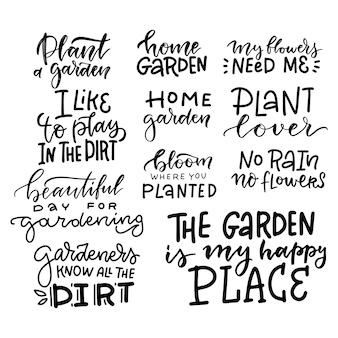 Set di lettere di giardinaggio disegnate a mano, citazione divertente.