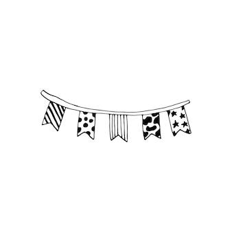 Ghirlanda disegnata a mano per biglietti di auguri, poster, adesivi e design stagionale. isolato su sfondo bianco. illustrazione vettoriale di scarabocchio.