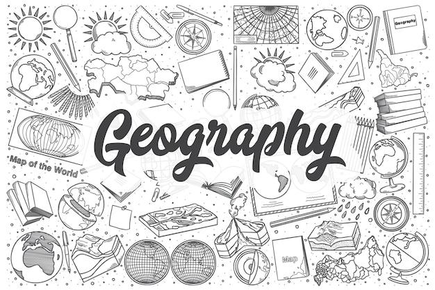 Insieme di doodle di geografia disegnato a mano. lettering - geografia