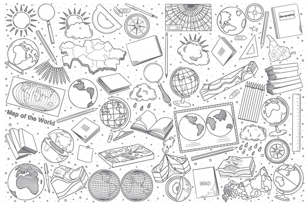 Insieme di doodle di geografia disegnata a mano
