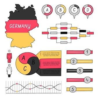 Mappa di germania disegnata a mano infografica