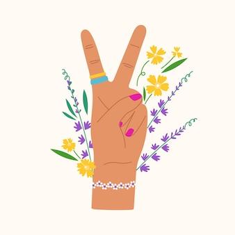 Gesto disegnato a mano con fiori e foglie mano alla moda che mostra segno di pace e lavanda