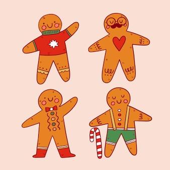 Set di biscotti di pan di zenzero disegnati a mano