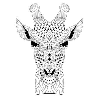 Disegnato a mano della testa della giraffa in stile zentangle