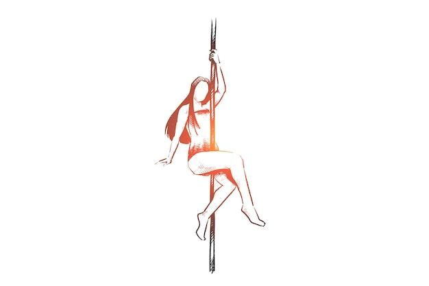 Ragazza disegnata a mano che balla con l'abbozzo di concetto di palo