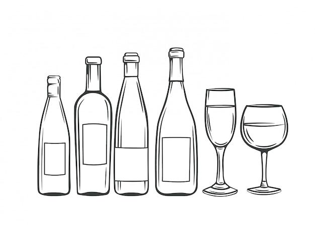 Bottiglie di vetro disegnate a mano e bicchieri di vino