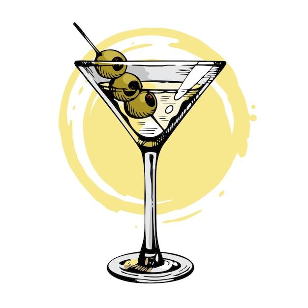 Bicchiere di martini disegnato a mano con olive