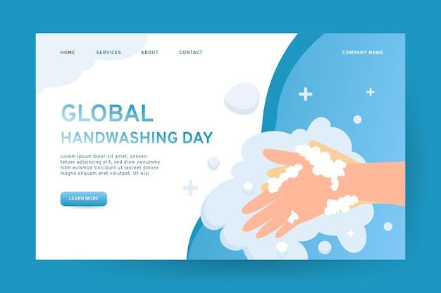 Pagina di destinazione della giornata mondiale del lavaggio delle mani disegnata a mano