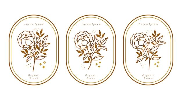 Collezione di elementi floreali di peonia botanica oro disegnata a mano per il logo di bellezza femminile
