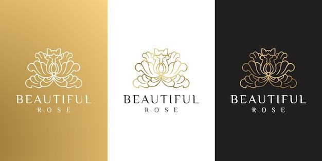 Bellezza femminile oro disegnato a mano e logo botanico floreale