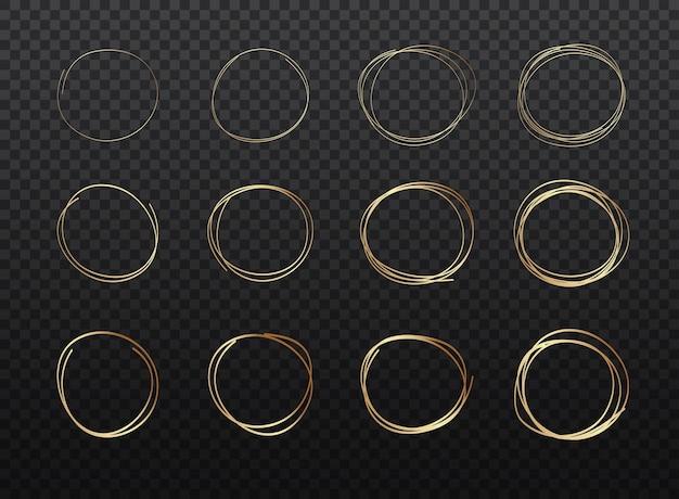 Insieme di schizzo di linea cerchi dorati disegnati a mano