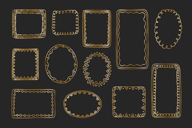 Collezione doodle di bordi di cornici metalliche dorate disegnate a mano