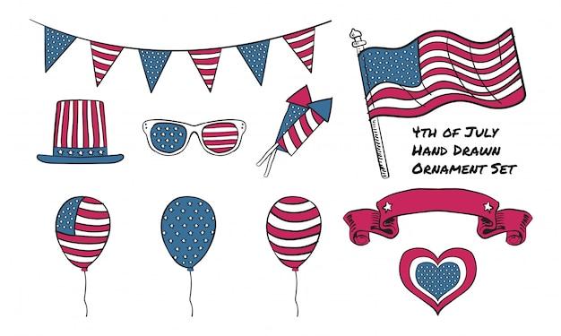 Elemento grafico disegnato a mano della festa dell'indipendenza 4 luglio usa