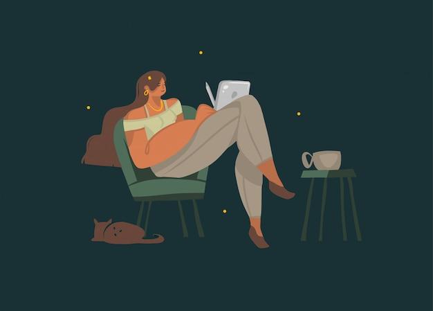 Le illustrazioni grafiche disegnate a mano con la ragazza si siedono su una sedia e tengono un computer della compressa in sue mani e beve il caffè con un gatto isolato