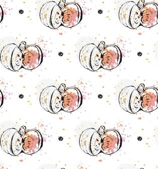 Inchiostro grafico disegnato a mano raccolto autunnale seamless pattern con zucca astratta isolalated su sfondo bianco. elemento di design per salvare la data card, stampa, poster, invito, saluto.
