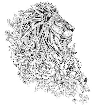 Testa di leone ornato grafico disegnato a mano con motivo floreale etnico di doodle