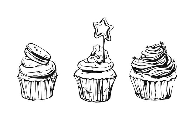 Insieme di elementi di design di cibo dolce grafico disegnato a mano insieme con cupcakes nei colori bianco e nero isolati.
