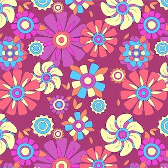 Motivo floreale groovy disegnato a mano