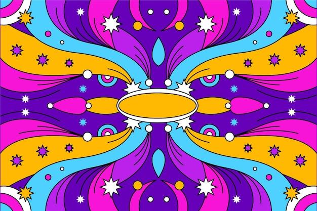 Sfondo psichedelico groovy disegnato a mano