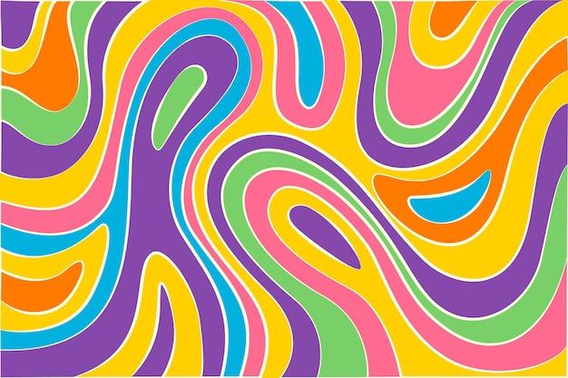 Sfondo di stile psichedelico groovy disegnato a mano