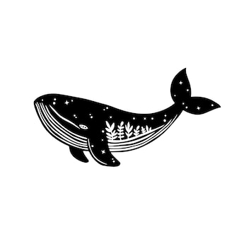 Balena grunge disegnata a mano