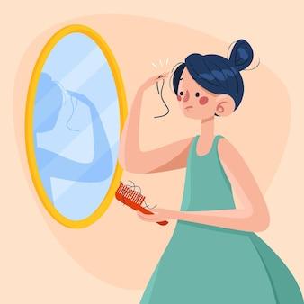 Concetto di perdita di capelli disegnato a mano illustrato Vettore Premium