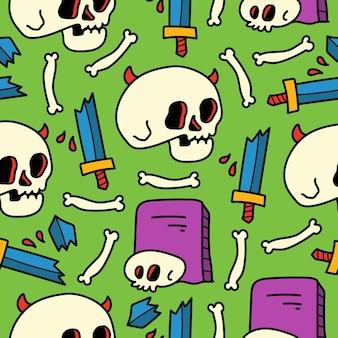 Disegno senza cuciture del modello del fumetto di scarabocchio di halloween disegnato a mano