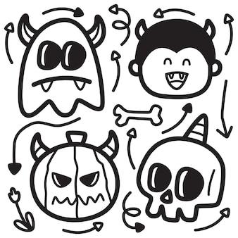 Illustrazione disegnata a mano di progettazione di scarabocchio di halloween