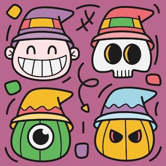 Illustrazione disegnata a mano di doodle di halloween