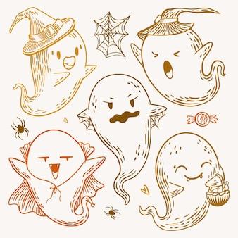 Collezione di fantasmi di halloween disegnata a mano