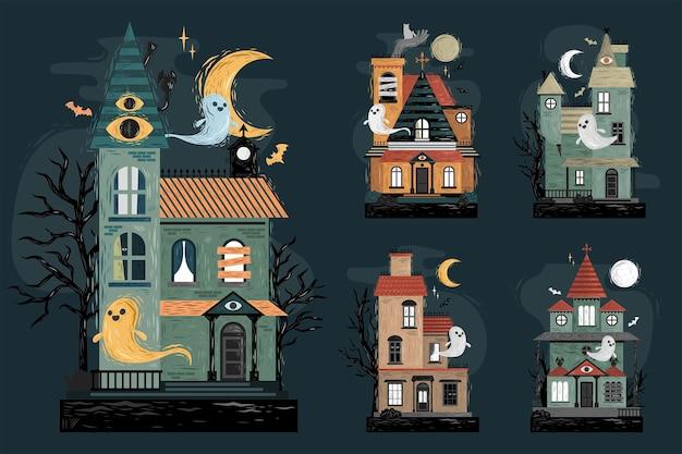 Collezione di case stregate di halloween disegnate a mano