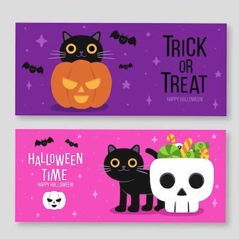 Set di banner orizzontali di halloween disegnati a mano