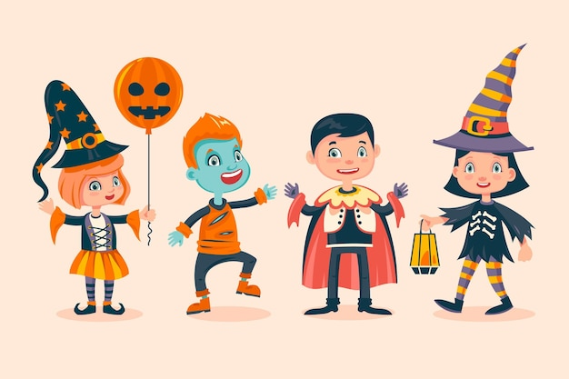 Collezione di bambini di halloween disegnata a mano