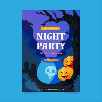 Manifesto del partito di halloween disegnato a mano con illustrazioni