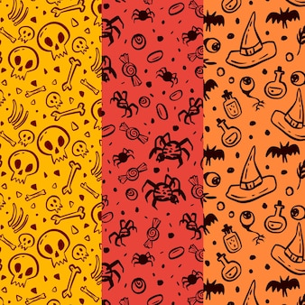 Collezione di modelli di halloween disegnati a mano
