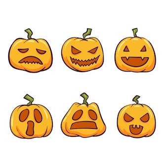 Raccolta di zucca di halloween disegnata a mano