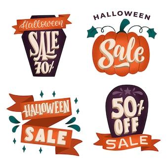 Collezione di badge vendita halloween disegnata a mano
